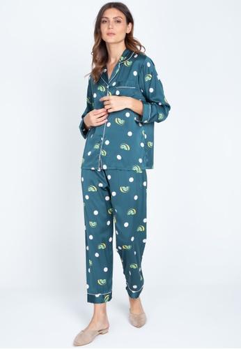 FEMINISM green Longsleeve Pajama C6E6BAA638F463GS_1