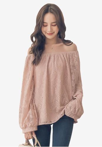 Yoco pink Off Shoulder Puff Sleeve Top 1ADB5AA7748FE8GS_1