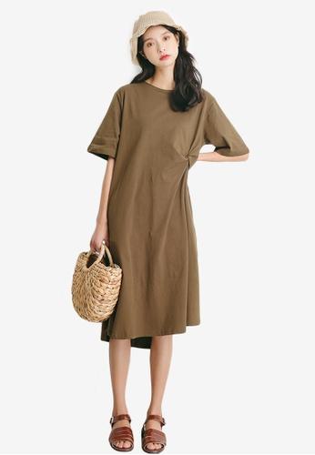 Sunnydaysweety brown Side Slit Loose Cutting One Piece Dress 44C39AA25AC29FGS_1
