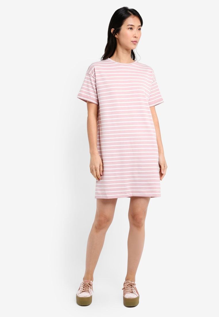 BASICS Marl Essential Pack Dress Stripe amp; T Dark Grey ZALORA Shirt White 2 Pink AYzwR