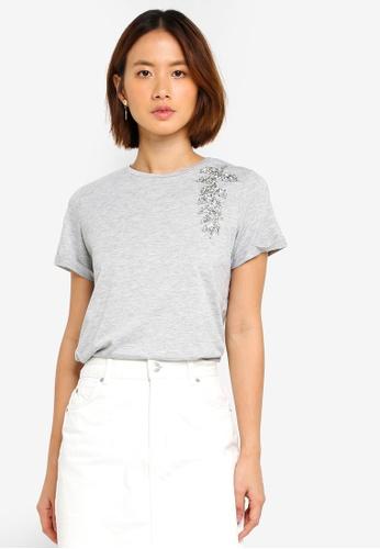 Dorothy Perkins grey Grey Embellished Leaf Tshirt BC1F6AA0EF2F52GS_1