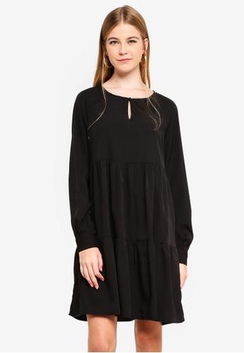 Pieces black Emma Long Sleeve Dress 3F3B6AA6D88771GS_1