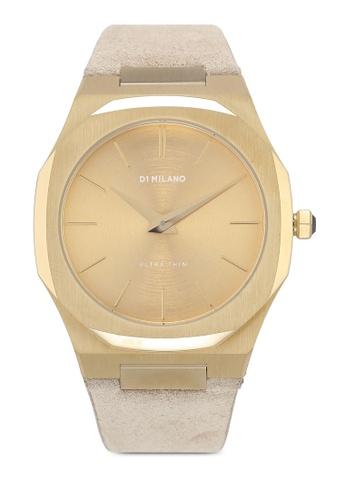 D1 Milano 白色 and 金色 行針設計手錶 C8EEFAC348F939GS_1