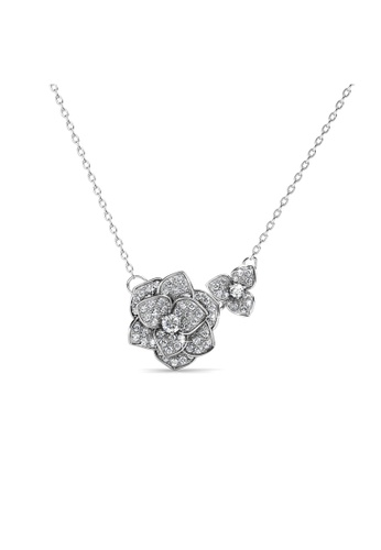 Her Jewellery silver Sweet Rosy Pendant -  Made with premium grade crystals from Austria HE581AC0RAFRMY_1