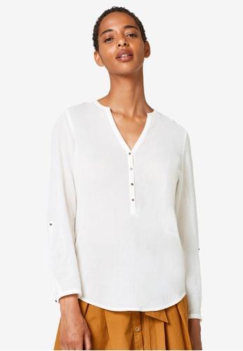 ESPRIT white Woven Long Sleeve Blouse 0247DAA5AA42C4GS_1