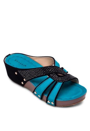 閃飾撞色楔形涼鞋, 女鞋, 楔形zalora開箱涼鞋