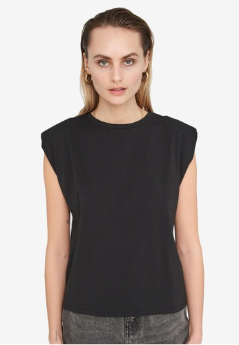 Noisy May black Minna Padded Shoulder Tee C0897AA14B891CGS_1