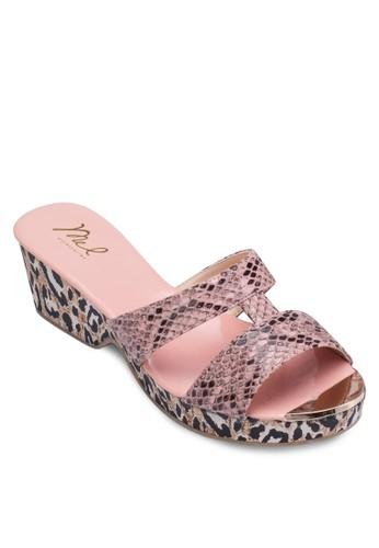 動物紋厚底esprit 中文涼鞋, 女鞋, 楔形涼鞋