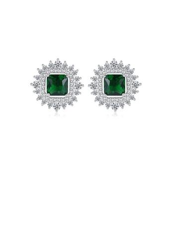 Glamorousky white Elegant Bright Flower Green Cubic Zirconia Stud Earrings 61EEEAC05D6ED6GS_1