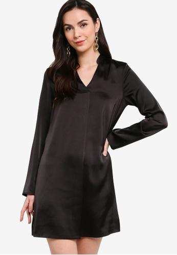 ZALORA WORK black Satin Long Sleeves Dress 36326AA25B45DDGS_1