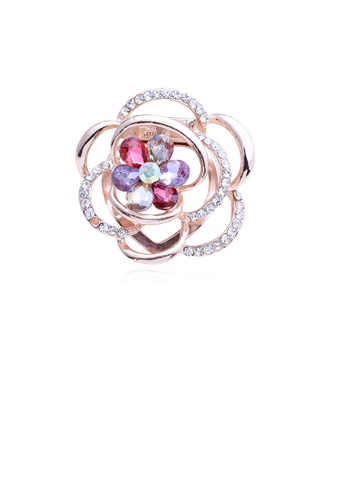Glamorousky white Fashion Temperament Plated Gold Color Flower Brooch with Cubic Zirconia CB44AAC3703E72GS_1