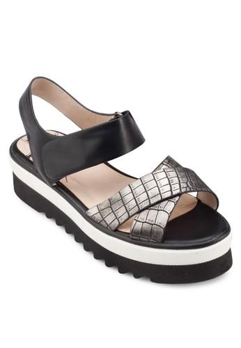 鱷魚esprit 台中紋交叉厚底涼鞋, 女鞋, 涼鞋