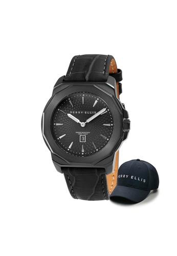 Perry Ellis black Perry Ellis Decagon Unisex 42mm Quartz Watch 08007-01 with Perry Ellis Cap 9519EAC0495585GS_1