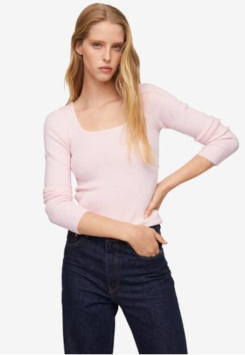 Mango pink Textured Knit Sweater 6A0FBAAC200F72GS_1
