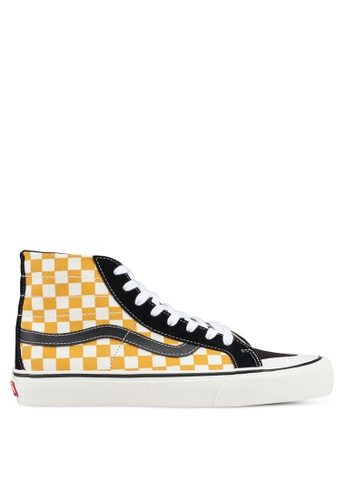 VANS black and white and yellow SK8-Hi 138 Decon Surf Check Sneakers 60DD6SH6AD6A6DGS_1