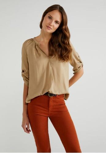United Colors of Benetton 褐色 V領休閒寬鬆襯衫 EC6F4AA7A378BFGS_1