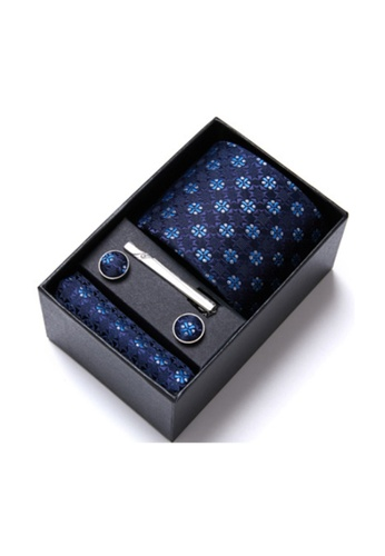 Kings Collection blue Blue Tie, Pocket Square, Cufflinks, Tie Clip 4 Pieces Gift Set (KCBT2139) 9C29DAC636979FGS_1