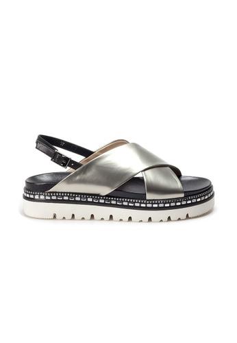 Shu Talk grey AMAZTEP Studs Metallic Patent Leather Sandals 0E88BSHFFB833AGS_1