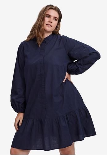 Vero Moda navy Plus Size Abby Shirt Mini Dress 05879AA22F3A74GS_1