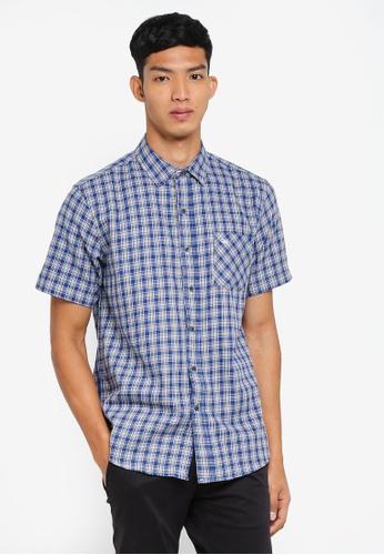 Fidelio 藍色 短袖格紋襯衫 D6B92AA9D38289GS_1