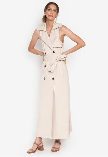 the___edit beige Althea Sleeveless Trench Dress 4187EAA46A0A41GS_1