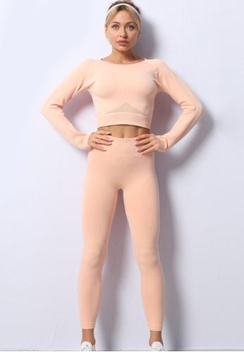 Twenty Eight Shoes pink VANSA Pure Color Long-Sleeved Yoga Set  VPW-YAM680 6E56EAA9F0CA45GS_1