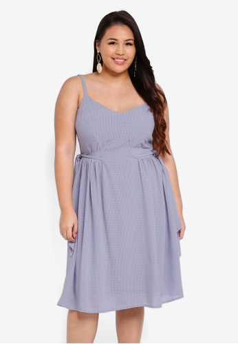 LOST INK PLUS grey Plus Size Cami Dress With Side Tie 8B9D7AAC24339AGS_1