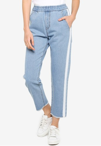 ZALORA BASICS blue Jeans with Side Tape 26FDEAA0FBA814GS_1