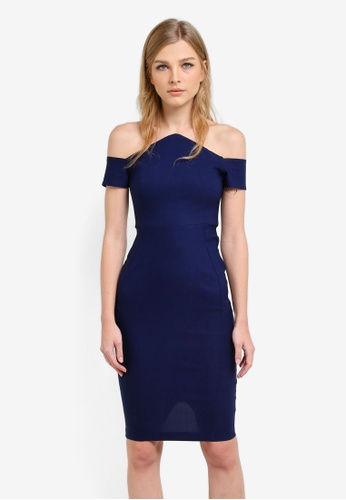 Vesper navy Dalston Bardot Pencil Dress VE733AA0S787MY_1