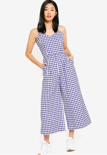 Something Borrowed white and blue Cami Culotte Jumpsuit C5835AA564E1FCGS_1