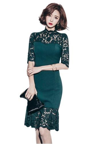 Sunnydaysweety green New Green Lace Half Sleeves One Piece Mini Dress UA060614-0 EFA01AAB37DC0EGS_1