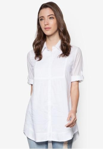 褶飾七分esprit hk store袖上衣, 服飾, 上衣