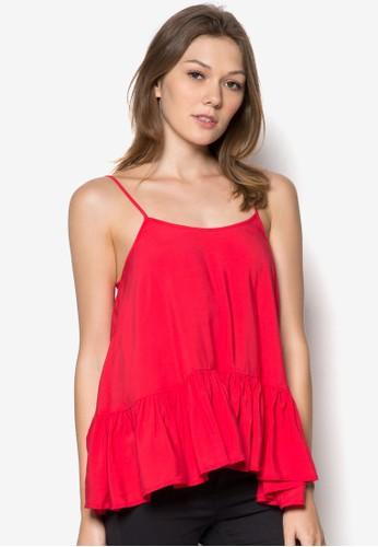 荷葉擺細肩帶上zalora時尚購物網評價衣, 服飾, 服飾