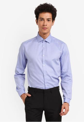 Burton Menswear London blue Tailored Blue Work Dobby Shirt 4BE7DAAAFA1622GS_1
