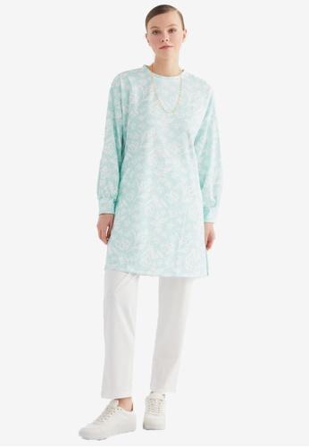 Trendyol 綠色 花卉上衣 & Bottom Set BE660AAF097BC4GS_1
