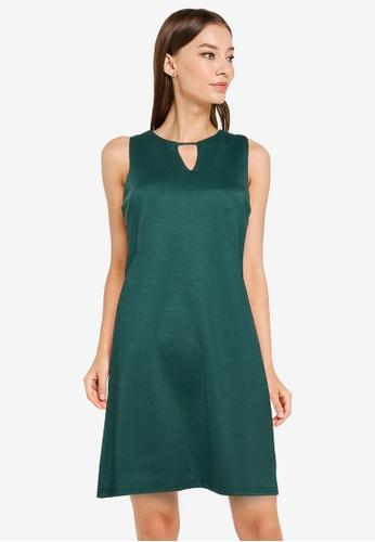 ZALORA WORK green Cut Out Notch Neck Shift Dress ECAD1AA14E2392GS_1