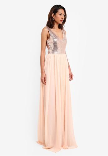 Goddiva beige V Neck Sequin And Chiffon Maxi Dress 7D6B3AAC672B3AGS_1