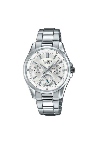 Casio silver CASIO SHEEN SHE-3060D-7AUDR MULTI HAND WOMEN'S WATCH 1DF69ACF8A5C52GS_1