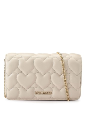 Love Moschino beige Heart Quilted Crossbody Bag 43384ACEC1D8B8GS_1