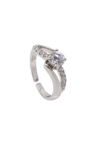 Jaysa Collection silver Palladium Wave Zirconia Ring JA875AC0GWSYSG_1