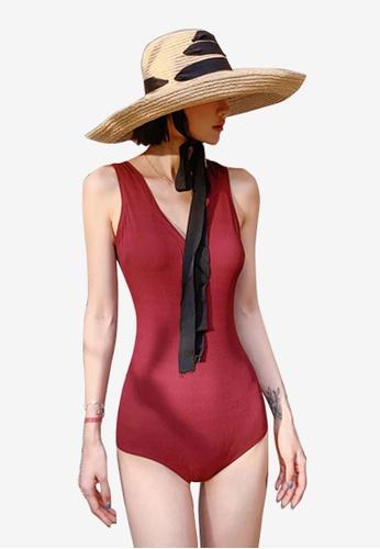 ZITIQUE red Plain One Piece Swimsuit - Red 340FEUS3C46593GS_1