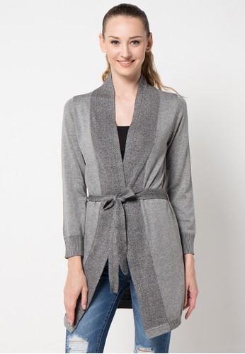 Noir Sur Blanc grey Ladies Long Cardigan With Belt NO321AA86DCJID_1