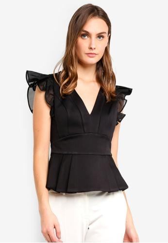Forever New black Rosa Ruffle Peplum Top B1E3FAA7536360GS_1