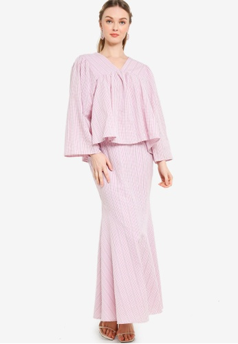 Lubna pink Peasant Sleeve Kurung With Trimming E0C6AAA8EDAAF9GS_1