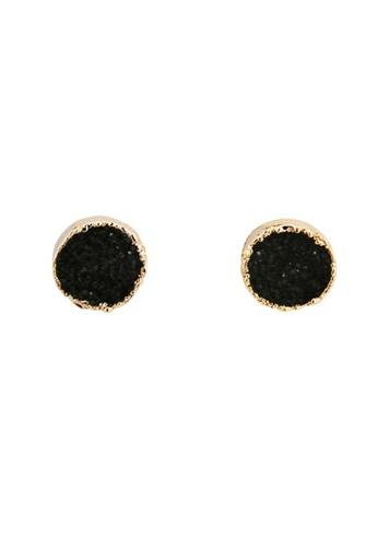 SKEDA black Druzy Round Ear Studs D4202AC7539F31GS_1