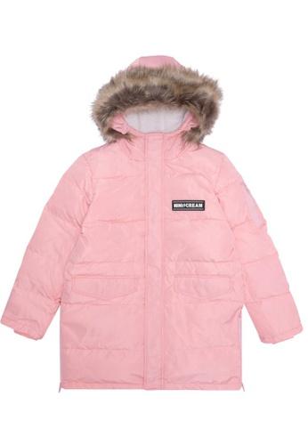 Mini cream pink Hooded faux fur trimmed down jacket 51401AA4270C4FGS_1
