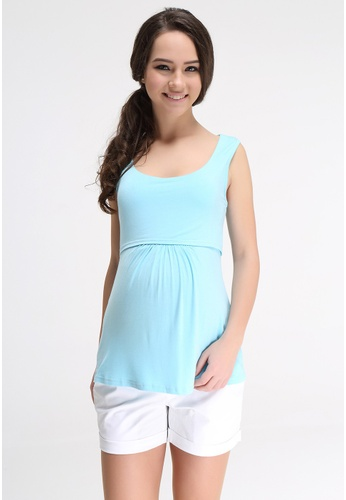 Bove by Spring Maternity blue Knitted Sleeveless Abbey Empire Top LTN5404 SP010AA60ULFSG_1