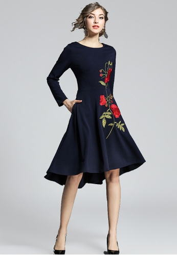 NBRAND blue Elbow Length Sleeve Embroidery A-Line Dress NB356AA0GS2FSG_1