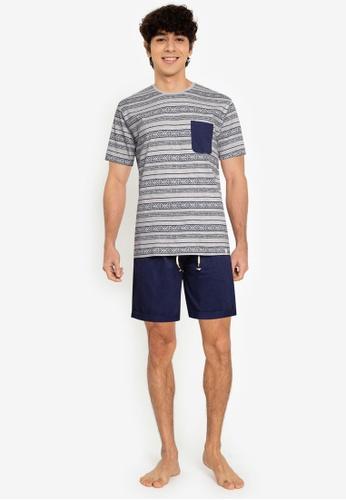 Springfield blue Printed Jersey-Knit Short Pyjamas B2DCBAA0E9CC15GS_1