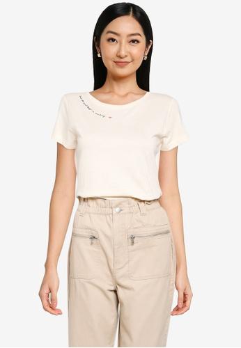 JACQUELINE DE YONG beige Chicago Short Sleeve Print T-Shirt 87514AA603B21CGS_1